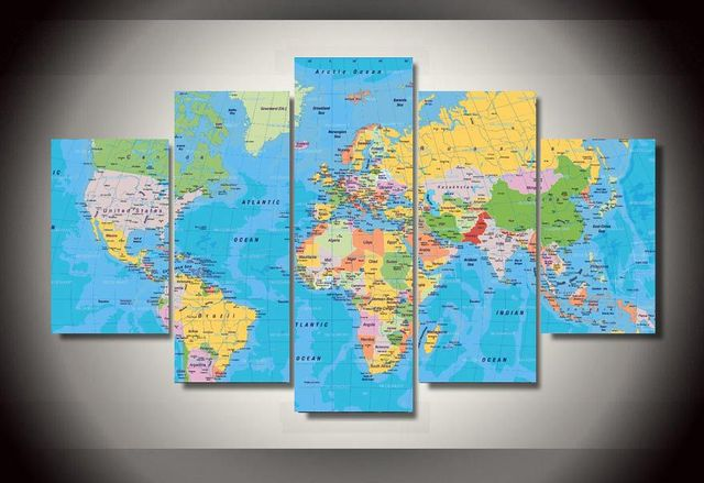 Panel Framed Printed World Map Group Painting Childrens Room - Children's maps to print
