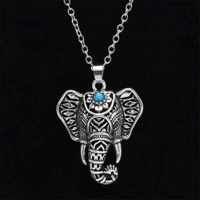 Bohemia jewelry antique silver necklaces pendants ethnic blue stone bohemia jewelry antique silver necklaces pendants ethnic blue stone elephant choker necklace chain for women boho aloadofball Choice Image