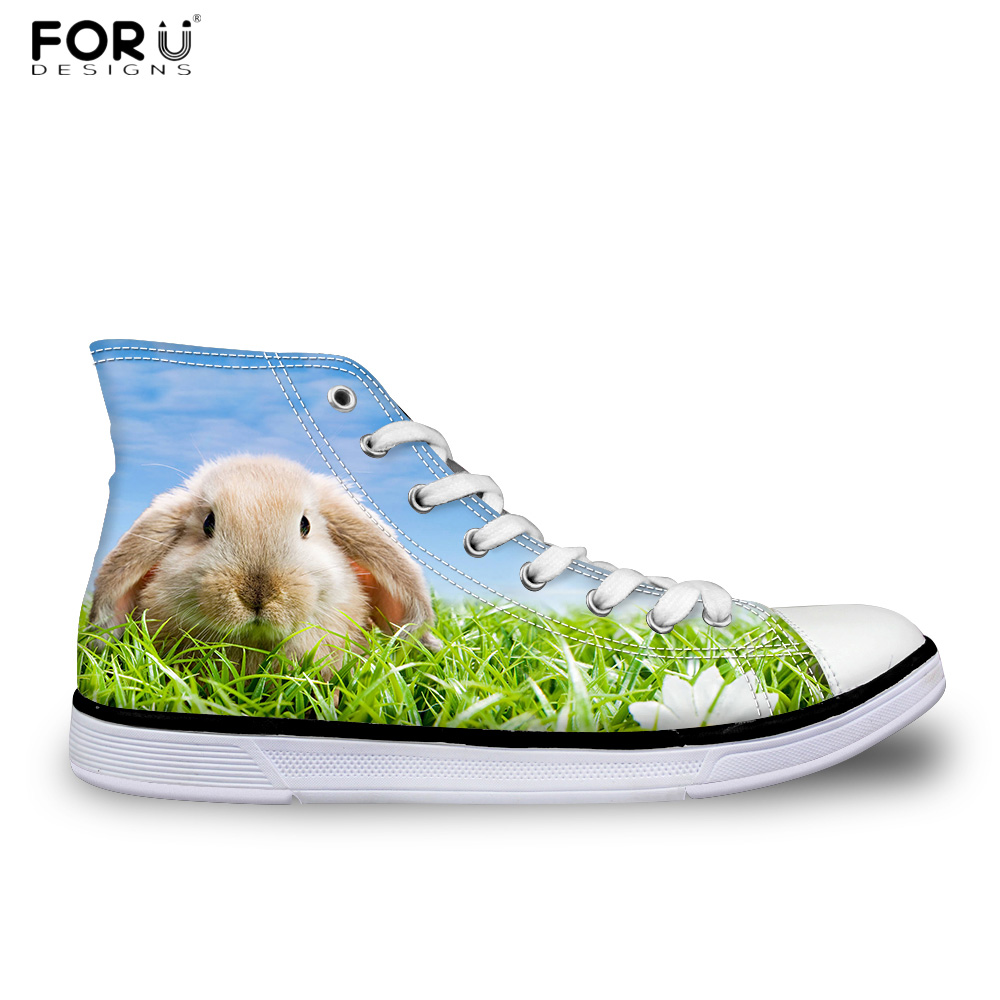 FORUDESIGNS 3D Animal Rabbit Pattern Women High Top Casual Canvas Shoes Fashion Lace-up Womens Sneaker Flats Female Vulcanize