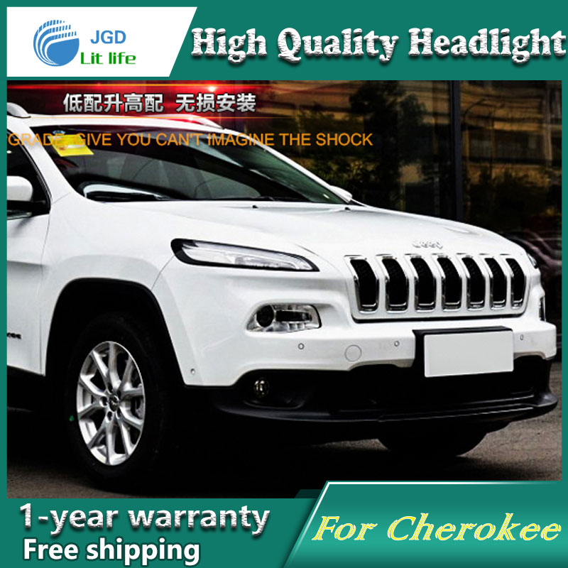 high quality Car styling case for Jeep Cherokee Headlights LED Headlight DRL Lens Double Beam HID Xenon Car Accessories hireno car styling for toyo ta corolla 2011 13 headlights led super bright headlight drl xenon lens high fog lam