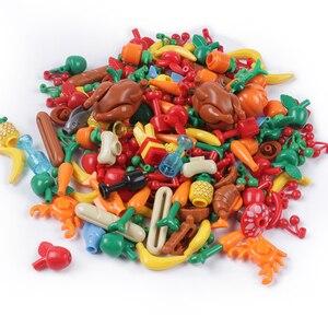 Image 1 - Stad Vrienden Accessoires Onderdelen Bouwsteen Fruit Brood Vis Voedsel Banaan Cherry Voor Legoe Stad Blokken Bricks Speelgoed Voor Kinderen