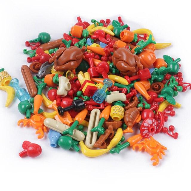 Stad Vrienden Accessoires Onderdelen Bouwsteen Fruit Brood Vis Voedsel Banaan Cherry Voor Legoe Stad Blokken Bricks Speelgoed Voor Kinderen