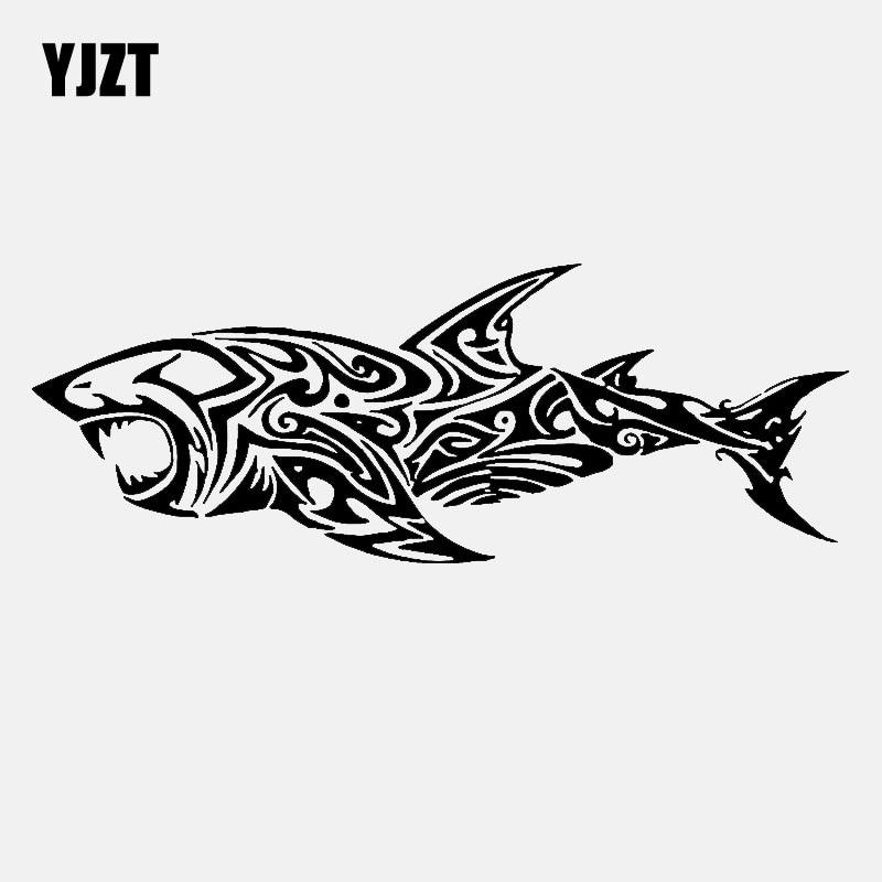 YJZT 16.7CM*7.9CM Fish Tribal Tattoo Shark Decor Art Vinyl Car Sticker Decal Black/Silver C24-0501