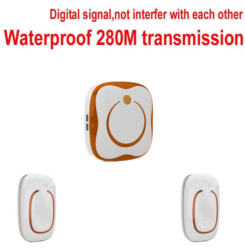 2 emitter+1 receivers Waterproof 280M Long-range wireless doorbell,wireless door chime,wireless bell,door bell,48 melodies bell ks v2 welcom chime bell sensor