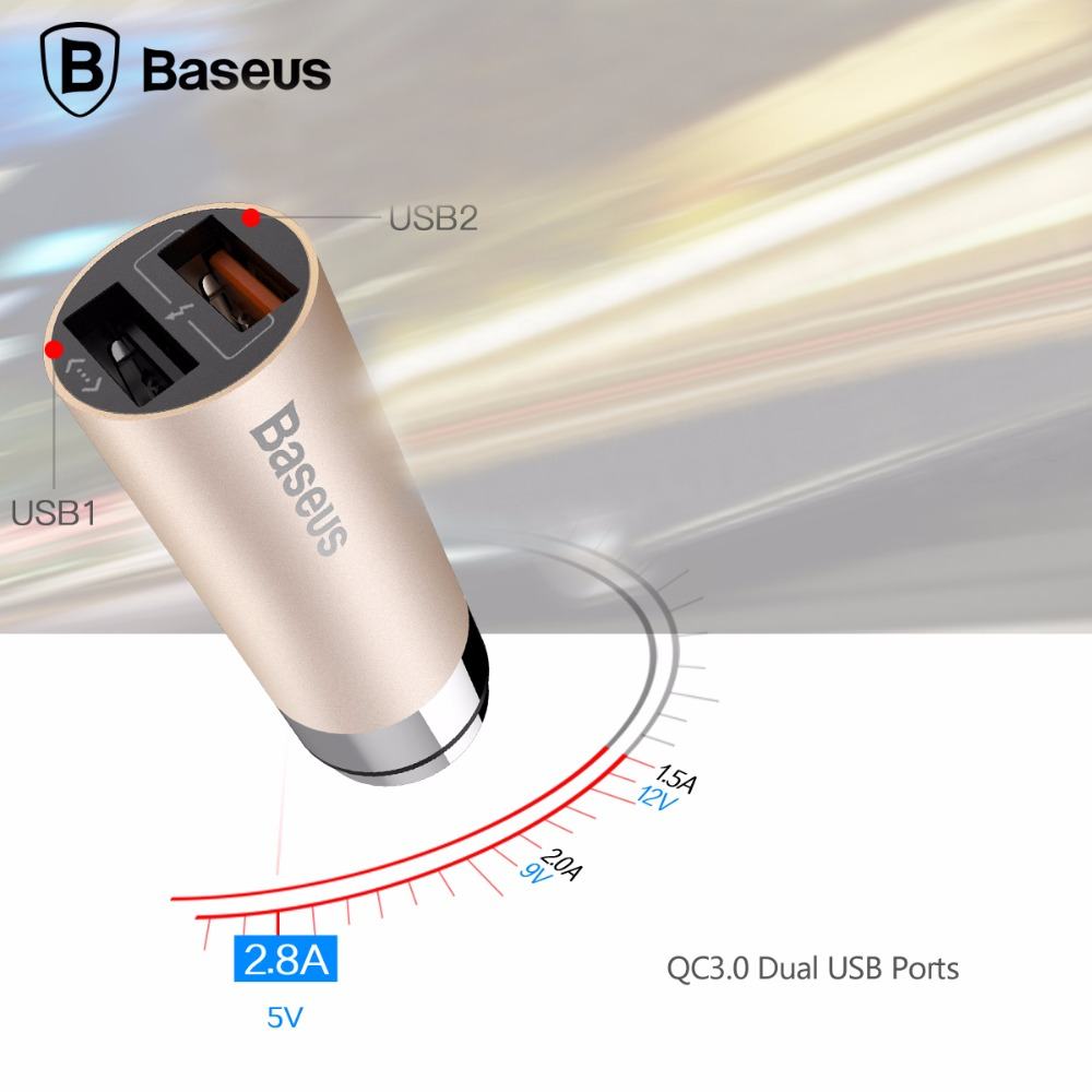 Baseus CarQ Series QC3 0 Car Charger Dual USB quick charger for iPhone for smartphone tablet