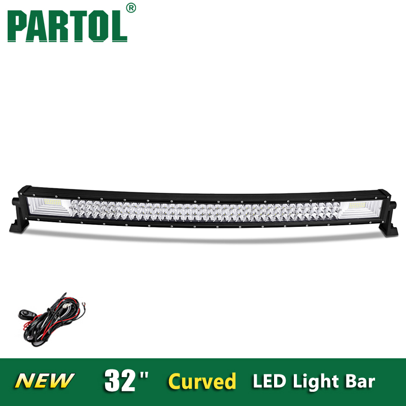 Partol 32 inch Curved LED Light Bar Offroad 4x4 Tri-Row Camber LED Work Light 482W Combo Beams 12V 24V 6000K For ATVs,SUV,truck