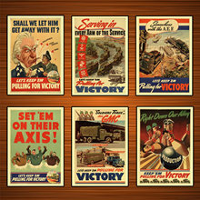 Vintage Usa WW2 Productie Propaganda Poster Set'em Op Hun Exis Klassieke Canvas Schilderijen Muurstickers Home Decor Gift(China)
