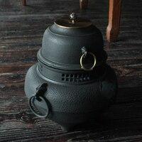 Чугунные Чай горшок набор японский Чай горшок Tetsubin чайник воздуха печи нагрева воды Инструменты углерода уголь плита Посуда для напитков