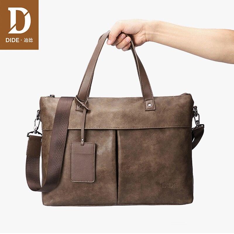 DIDE PU leather laptop business bag handbag Men Crossbody Bag Men's Travel leather briefcase office bags for men