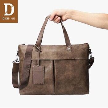 DIDE PU leather laptop business bag handbag Men Crossbody Bag Mens Travel briefcase office bags for men