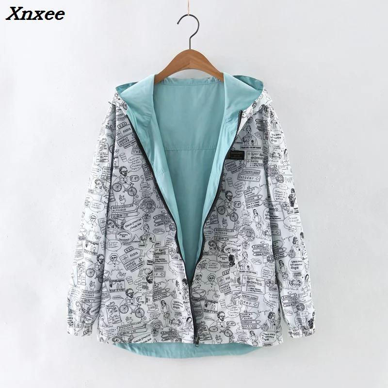 2018 New Autumn Women Bomber   Basic     Jacket   Pocket Zipper Hooded Two Side Wear Cartoon Print Outwear Navy Loose Coat Xnxee