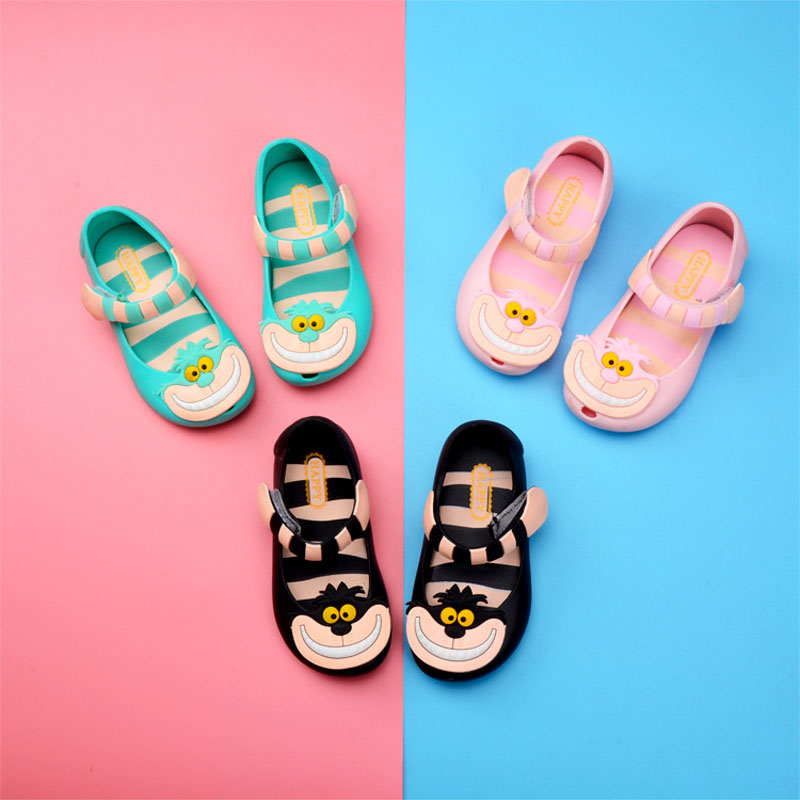 Alice in Wonderland Mini Melissa Jelly Shoes Children Sandals for Girls Rubber Shoes Kids Child Beach Cheshire Cat Shoe