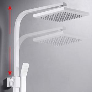 Image 3 - 화이트 샤워 믹서 욕실 샤워 세트 사각 벽 화이트 욕실 샤워 꼭지 비데 욕조 욕조 탭 마이크 & 제이크