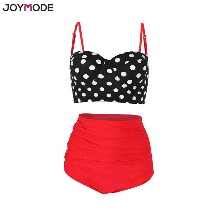 3d3d4c940f025 JOYMODE High Waist Bikini Swim suits Straps Retro Polka Dot Ruffled Sexy  Bikini Underwire Plus Size M 3XL Women Swim wear