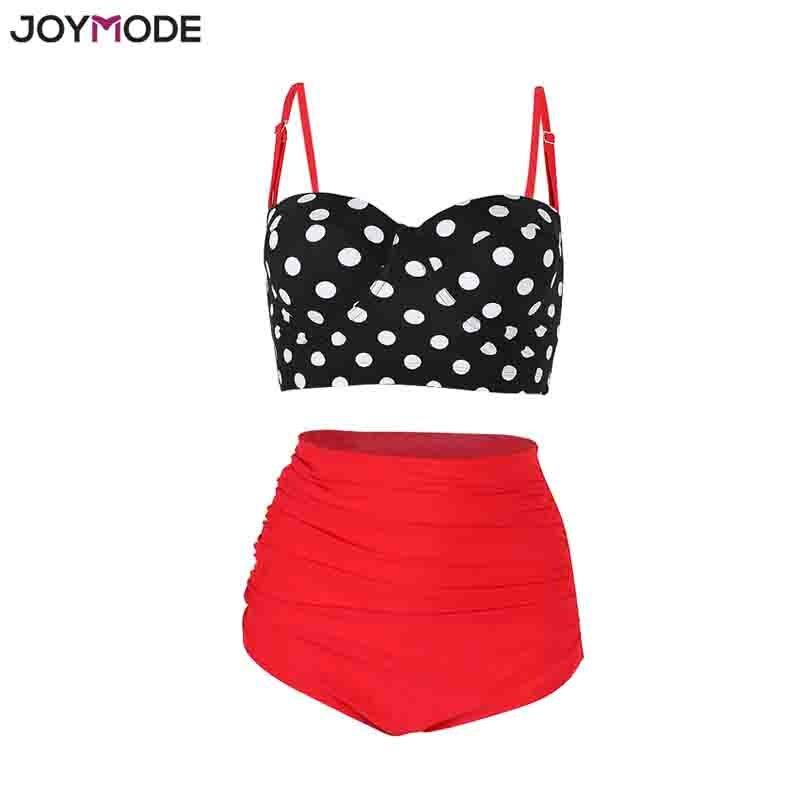 JOYMODE High Waist Bikini Swim suits Straps Retro Polka Dot Ruffled Sexy Bikini Underwire Plus Size M 3XL Women Swim wear vintage halterneck polka dot high waist dress for women