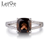 Leige Jewelry 925 Sterling Silver Natural Smoky Quartz Ring Cushion Cut Fine Gemstone Engagement Rings For