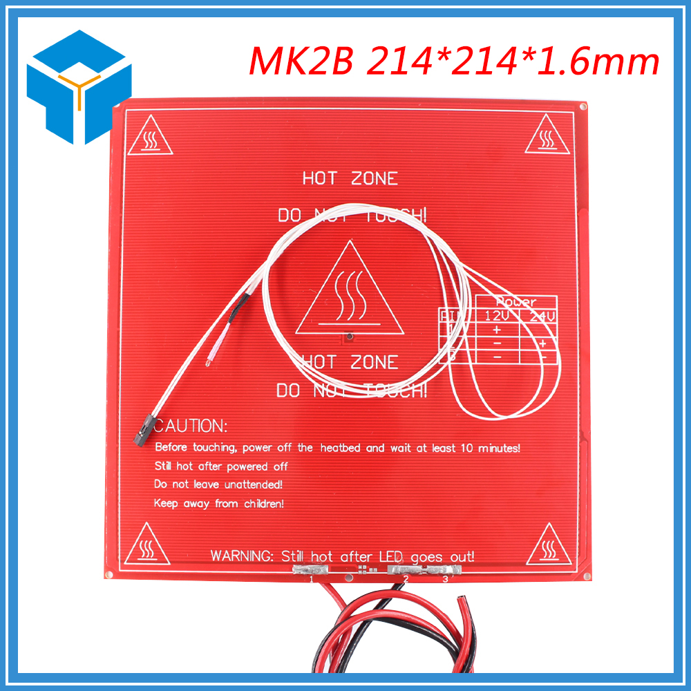 Reprap 3d Printer Pcb Heatbed Mk2b 214x214 Heated Bed With Led And Resistor And Cable Hot Plate For &mendel Mk2a 214*214*1.6mm High Quality Computer & Office Office Electronics