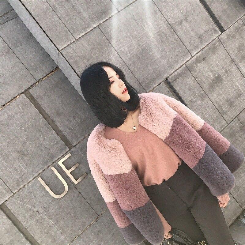 Petit manteau de fourrure tempérament frais OLGITUM hiver doux Imitation lapin couleur courte correspondant fourrure Outwear Mujer femme veste