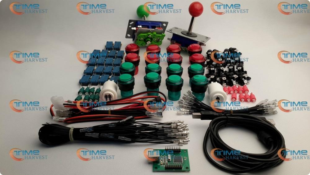 ส่วนอาเขตชุดรวมกลุ่มกับจอยสติ๊กสีแดงและสีเขียว + สีแดงและสีเขียวปุ่มเรืองแสง Microswitch 2 ผู้เล่น USB อะแดปเตอร์สำหรับอาเขต