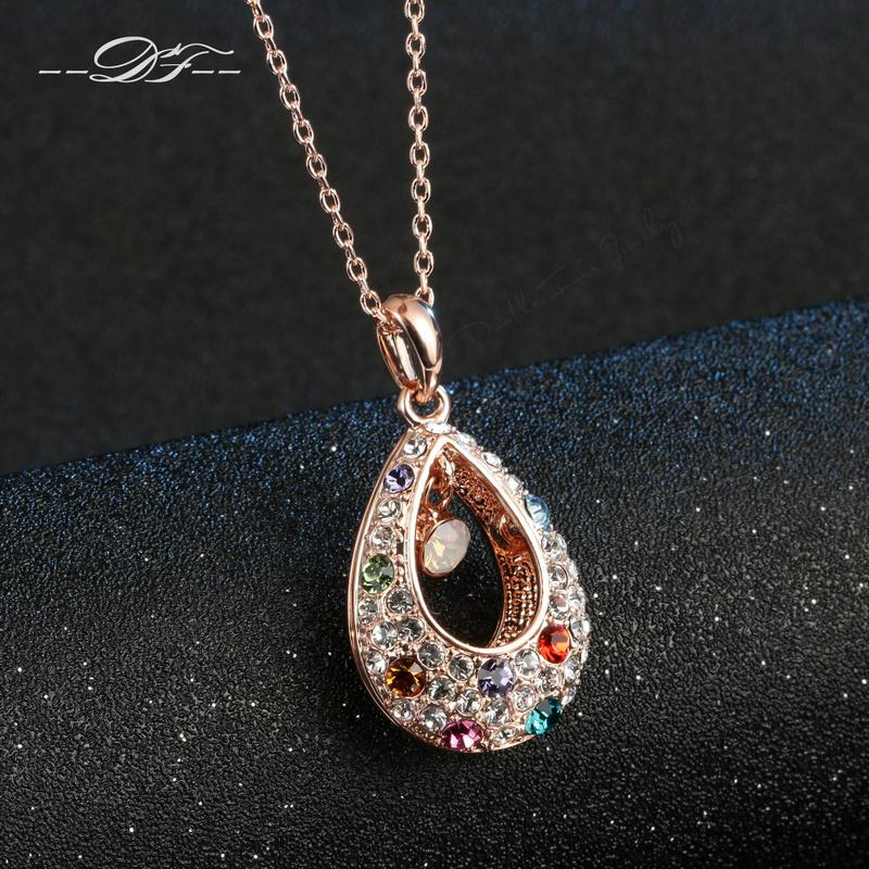 Luxury Crystal Rose Gold Color Necklacependants Fashion Brand