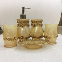 WSHYUFEI High Quality Resin Yellow Bathroom Set 5pcs Bath Accessories Set Bathroom Products Trash Can Storage Kits