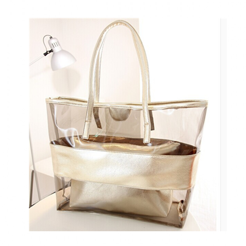 New Women Color Block Transparent Shopper Bags Summer Package Jelly Bag Crystal Bag Shoulder Women's Travel Handbag