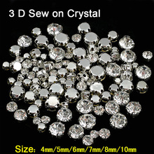 Round Shapes Silver & Gold Sew on Rhinestones With Claw Crystal / AB Glass Glitter For Wedding Dress 3D