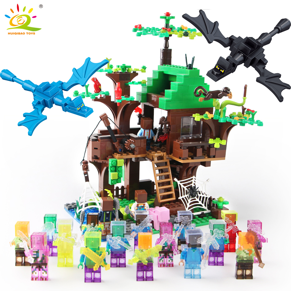 443pcs mine World Series Island Forest House Model Building Blocks Compatible Legoed Minecrafted village brick toys for children my world tree house brick scene series steve mini blocks model building blocks kit toys for children compatible 21125