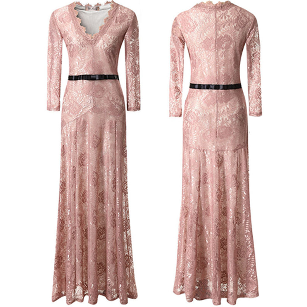 Womens Lace Dress Sexy Chic V Neck Formal Lady Bodycon Prom Party ...