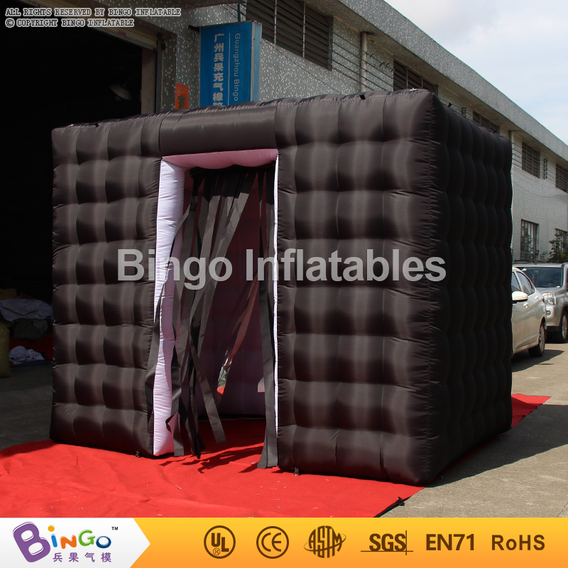 Top quality portable 2.4m(8ft.)black inflatable cube photo booth with tassels curtains and two doors  BG-A1071 toytent funny summer inflatable water games inflatable bounce water slide with stairs and blowers