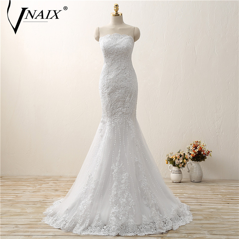 Vnaix W351 Sexy Mermaid Beaded Lace Wedding Dress Strapless Lace up Back Bridal Gowns