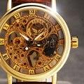 2016 Nueva Moda Marca SEWOR Skeleton Hombres Del Ejército Militar Reloj Clásico de Lujo de Oro Mecánica del Viento Mano Reloj de Pulsera de Regalo