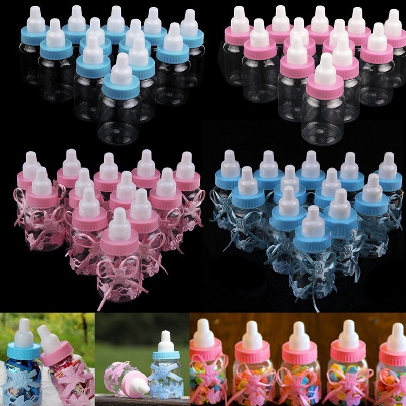 >Favors Bottles Fillable Party Decorations Candy Box Cute Western <font><b>Style</b></font> Blue Pink Transparent Baby Girl <font><b>Boy</b></font> Shower