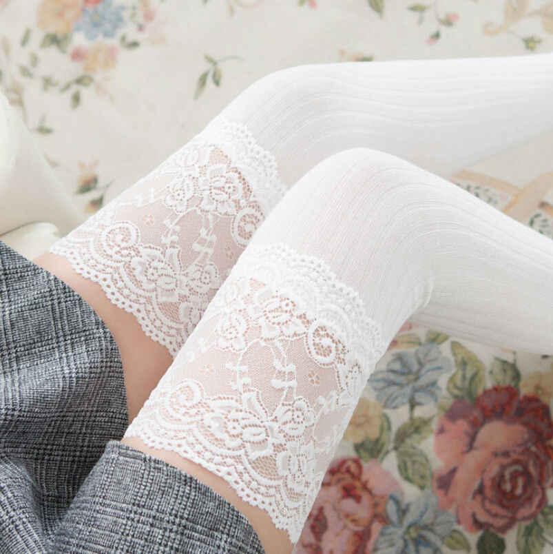 MeiHuiDa 2018 Nieuwe Stijl Mode Vrouwen Winter Katoen Knit Over Knie Lange Laars Solid Lace Dij-Hoge Warme Sokken