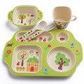 Kinder Cartoon Geschirr Set Bambus Faser Baby Fütterung Platte Mit Schüssel Gabel Löffel Tasse Set Kinder Traning Geschirr 5 teile/satz