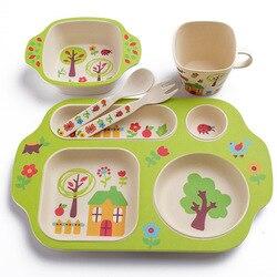Niños vajilla de dibujos animados conjunto de fibra de bambú bebé alimentación con plato tenedor cuchara taza niños entrenamiento vajilla 5 unids/set