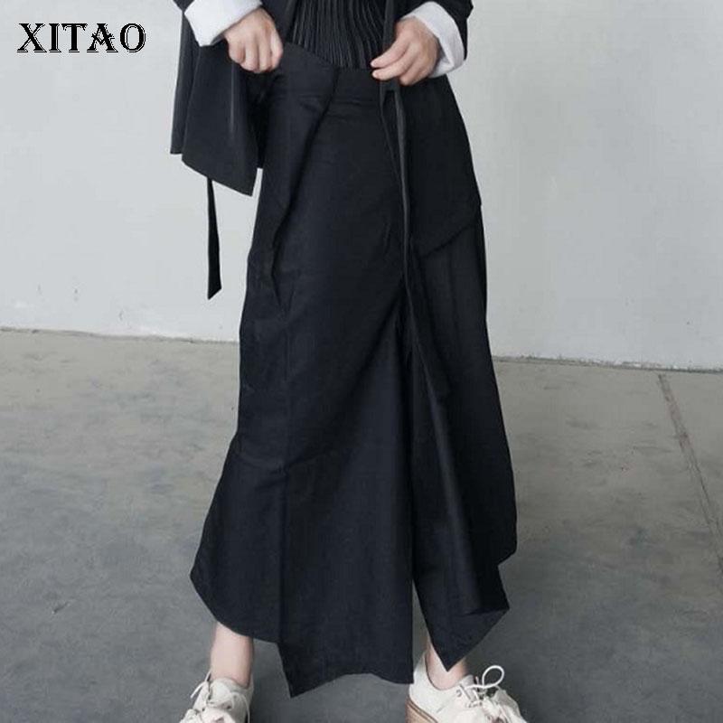 XITAO Women Irregular Split   Pants   Women Waist Pleated Wild Joker 2019 Autumn Korea Fashion Elegant   Wide     Leg     Pants   WLD1892
