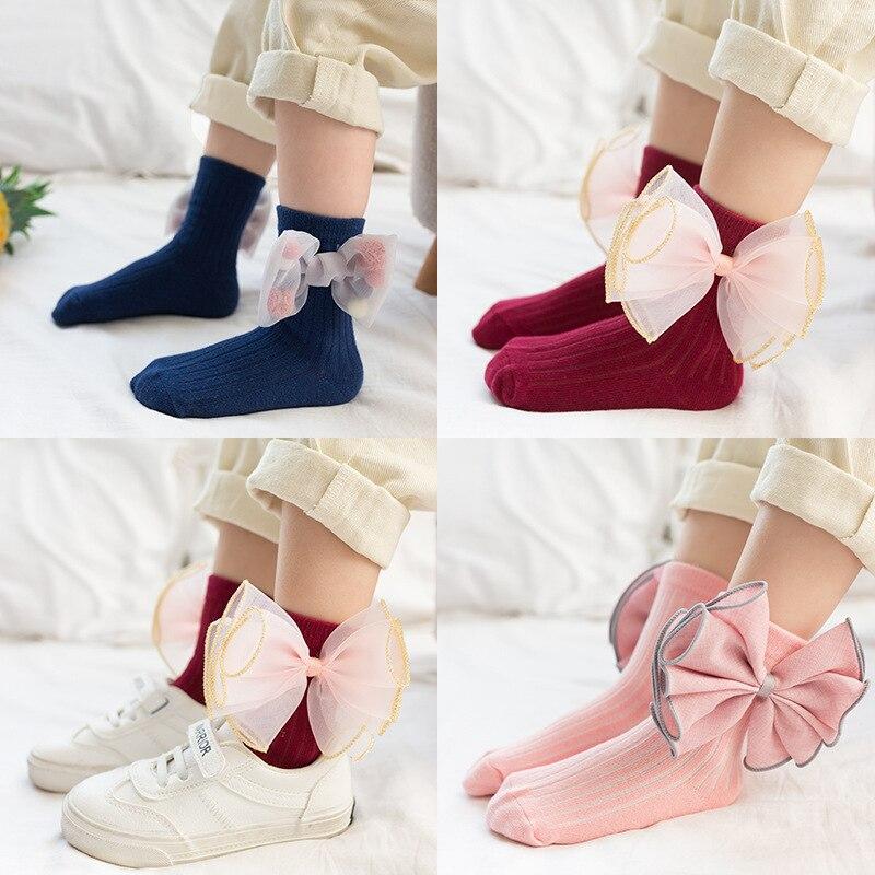 Girl Socks Cotton Autumn Slim Children Bow Lovely Lace Socks Girl Baby Socks