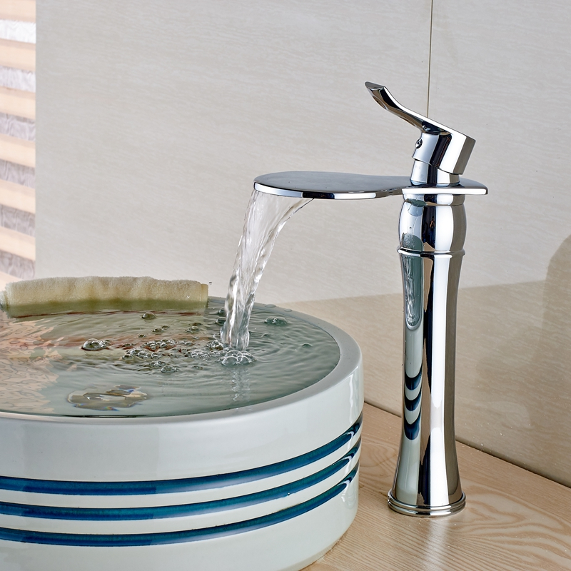 Chrome Brass Waterfall Sink Faucet Deck Mount Bathroom Hot Cold Countertop Tap