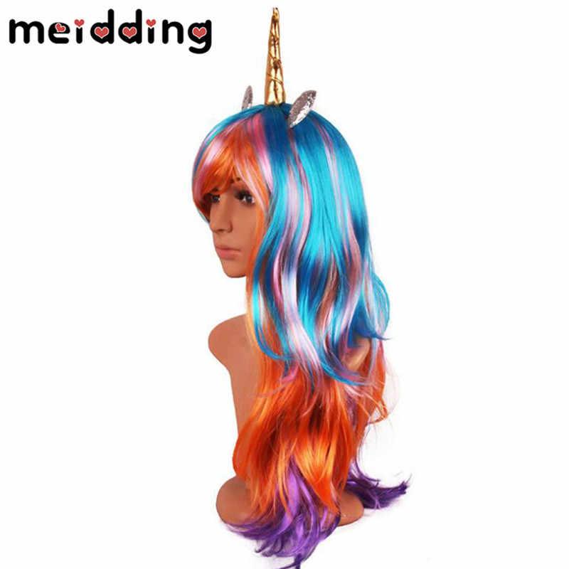MEIDDING 70 см длинные волнистые Единорог косплэй парики день рождения поддельные волосы Единорог парики с рогом синтетические парики Лолита Аниме Декор
