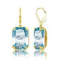 Szjinao Fashion 2019 women's earring gold long Earrings Costume Jewelry Handmade rectangle Aquamarine 925 Sterling Silver