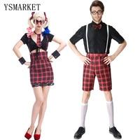 Nueva Pareja Traje 2017 Hot Sexy Lindo School Girl y Boy traje de Cosplay Más El Tamaño XL Ropa de Verano A Cuadros de Talle Alto H1738