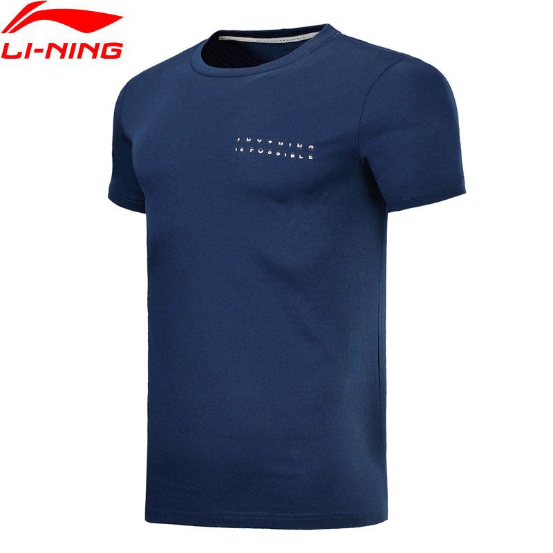 Li-Ning Mens Sports T-Shirt Jersey Comfort 63% Cotton 37% Polyester Breathable LiNing Sport T-shirt Tee Tops AHSN005 MTS2738