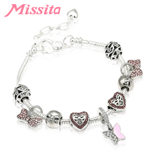 MISSITA Romantic Bowknot Love Heart Bracelets with Pink CZ Butterfly Pendant Bangle for Women Jewelry Brand Anniversary Gift