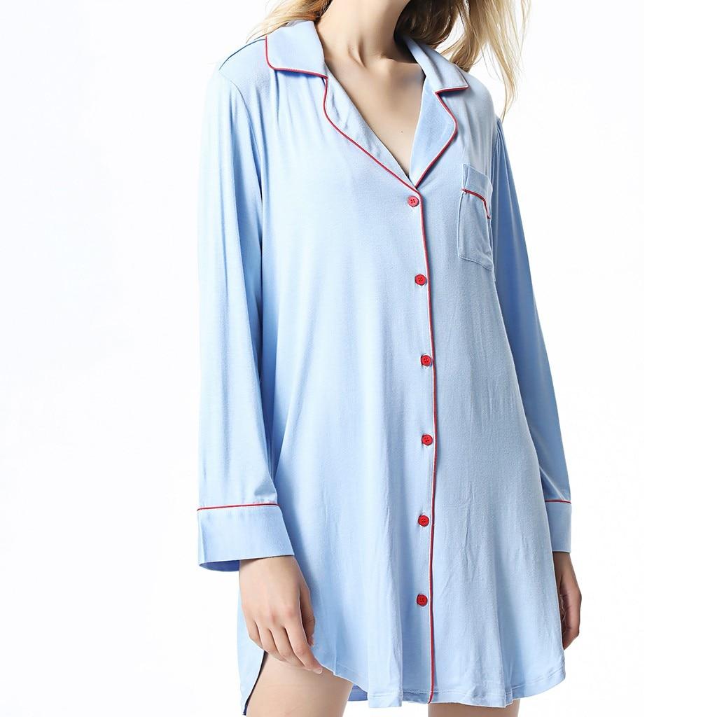 Youyedian Tragen Hause Kleidung Stickerei Schlaf Frauen Sexy Lose Lange Ärmeln Taste Pyjamas Bequem Auf-website Service # W35 Angenehm Im Nachgeschmack Damen-nachtwäsche