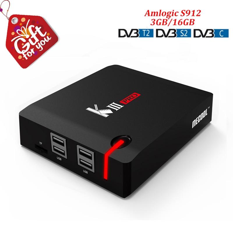 Mecool kiii pro Android TV Box Android 7,1 Amlogic S912 Octa Core 3 ГБ DDR4 оперативной памяти 16 ГБ Rom Dvb t2 dvb s2 T2 C Dvb c Dvbt2 K3 Pro