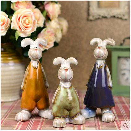 Bugs Bunny Family Ceramic White Rabbit Home Decor Crafts Room Decoration Handicraft Ornament Porcelain Animal Figurines