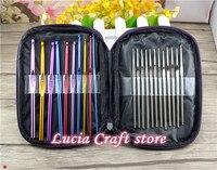 180mm 135mm Stainless Steel Aluminum Crochet Weaving Tools 1set Lot 22pcs Set 089052
