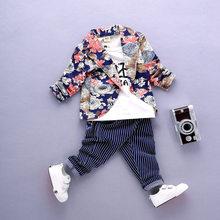 Spring Baby Boys Clothes Sets Infant Cotton Suits Print Long Sleeve Jacket T  Shirt+Striped 224770e6e470