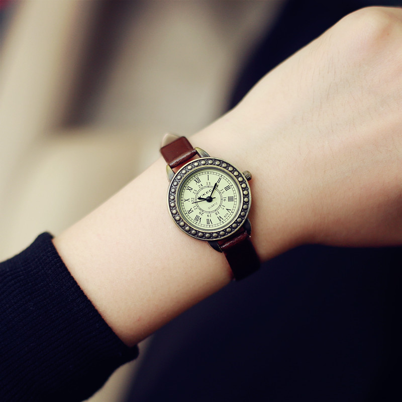 Ladies designer vintage leather women bracelet watches brown retro roma quartz woman clock fashion small female wristwatches(China)
